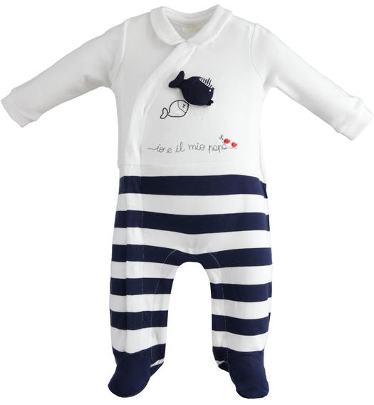 Stretch cotton onesie with feet and collar for babies from 0 to 24 months Minibanda NAVY-3854
