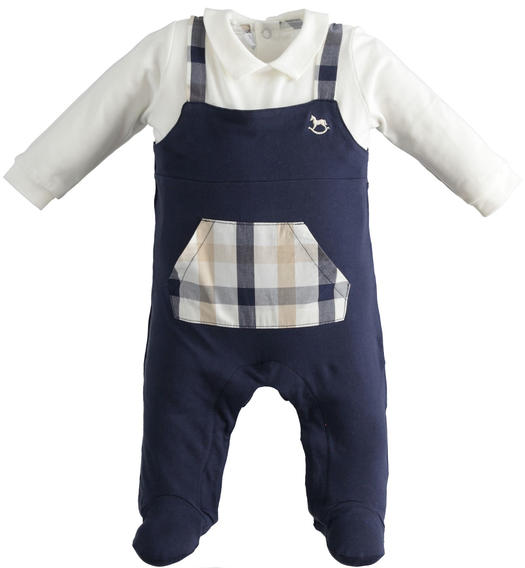 Baby boy fake dungarees onesie with feet for baby boy from 0 to 24 months Minibanda NAVY-3854