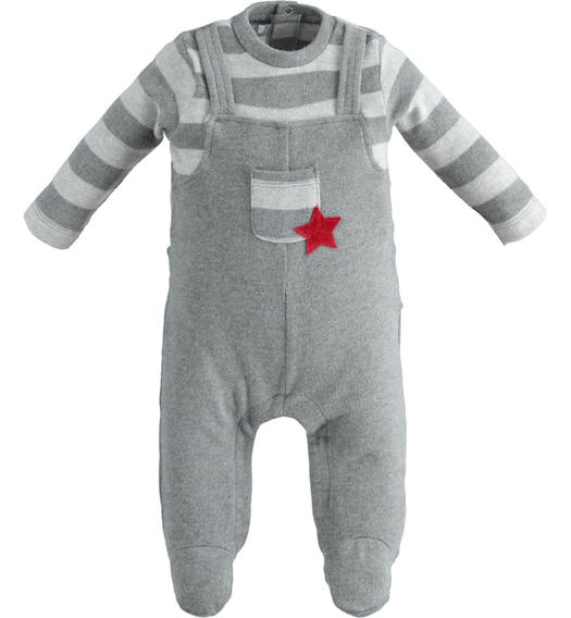 Very warm stretch cotton onesie with foot for newborn from 0 to 24 months Minibanda GRIGIO MELANGE-8993