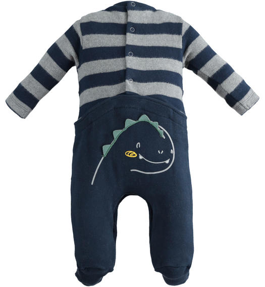 Very warm stretch cotton onesie with foot for newborn from 0 to 24 months Minibanda NAVY-3885