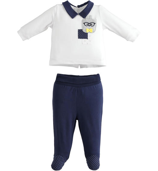 Newborn two-piece suit of stretch cotton with long sleeve shirt for baby boy from 0 to 24 months Minibanda NAVY-3854