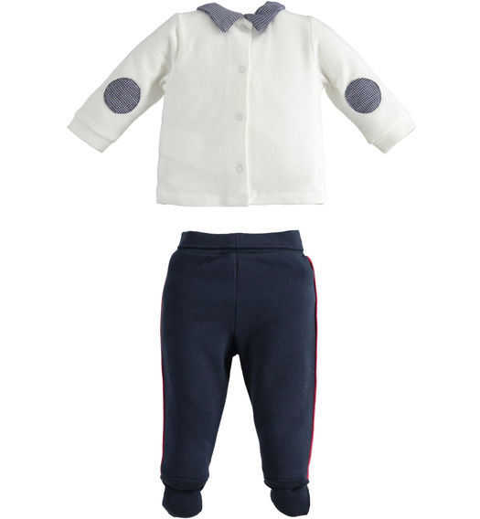 Two-piece fleece romper for newborn boy with houndstooth applications from 0 to 24 months Minibanda NAVY-3885