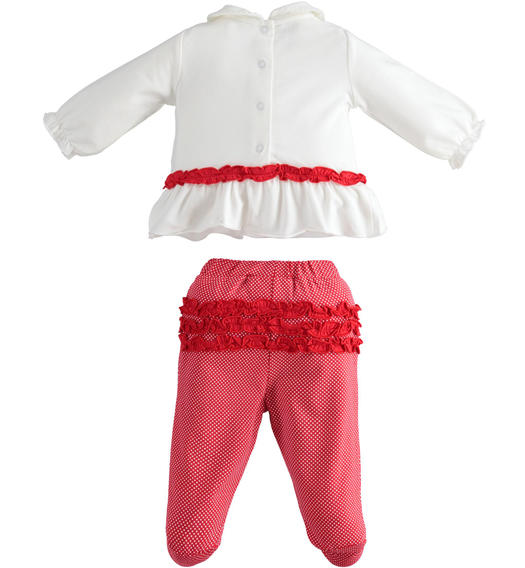 Stretch cotton jersey two pieces suit for newborn girl from 0 to 24 months Minibanda ROSSO-BIANCO-6MC1