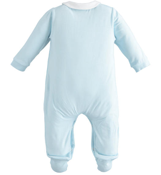 Stretch cotton newborn onesie with contrasting collar for baby boy from 0 to 24 months Minibanda SKY-5818