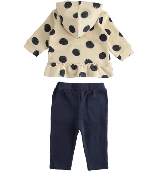 Stretch cotton romper with long sleeve full zip for newborn girl from 0 to 24 months Minibanda BEIGE-NAVY-6NR1