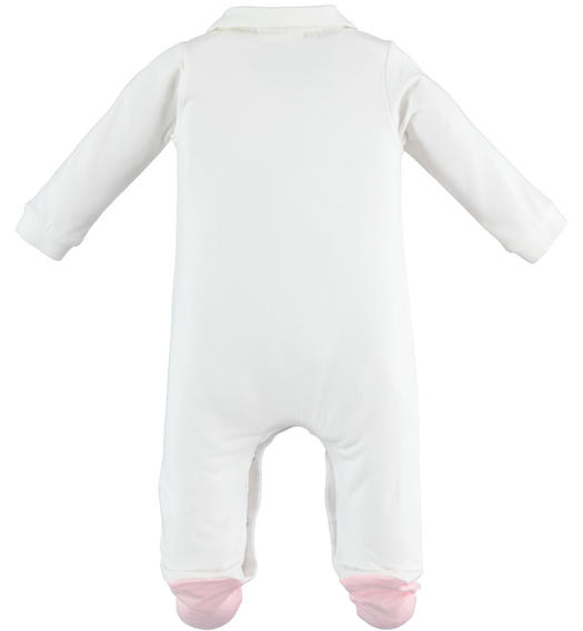 One-piece cotton fabric long-sleeved onesie with feet for baby girl from 0 to 24 months Minibanda BIANCO-0113