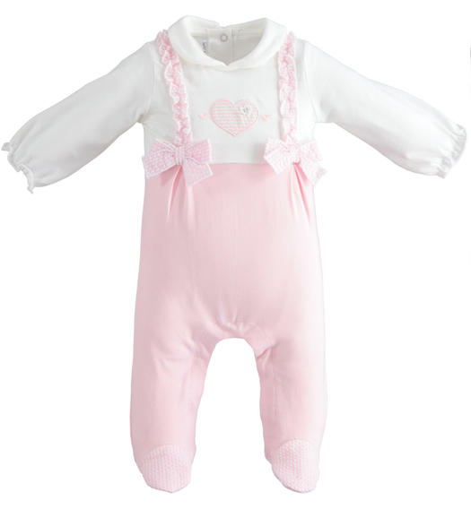 One-piece onesie with collar and feet for baby girl from 0 to 24 months Minibanda ROSA-2763