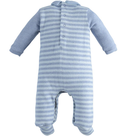 One-piece romper with feet with bunny and pompom for newborn boy from 0 to 24 months Minibanda CARTA ZUCCHERO MELANGE-8853