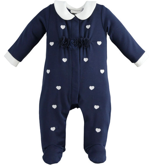 One-piece romper with feet with little hearts and flower for newborn girl from 0 to 24 months Minibanda NAVY-3854