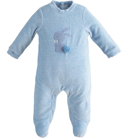 One-piece chenille romper with bunny and pompom for newborn boy from 0 to 24 months Minibanda CELESTE MELANGE-8852