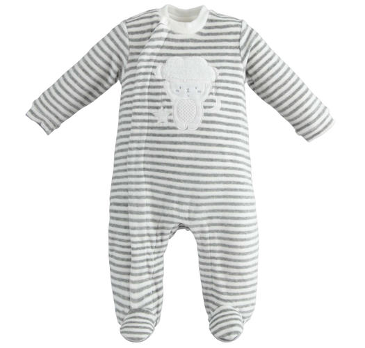 Unisex model onesie for newborn with all over striped pattern for babies from 0 to 18 months Minibanda GRIGIO MELANGE-8867