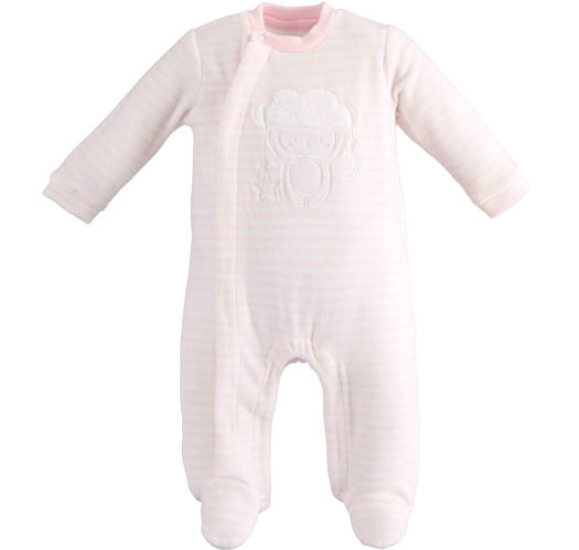 Unisex model onesie for newborn with all over striped pattern for babies from 0 to 18 months Minibanda LIGHT PINK-5819