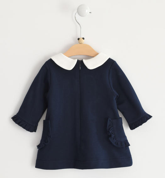 Stretch fleece long sleeves dress for baby girl from 0 to 24 months Minibanda NAVY-3885