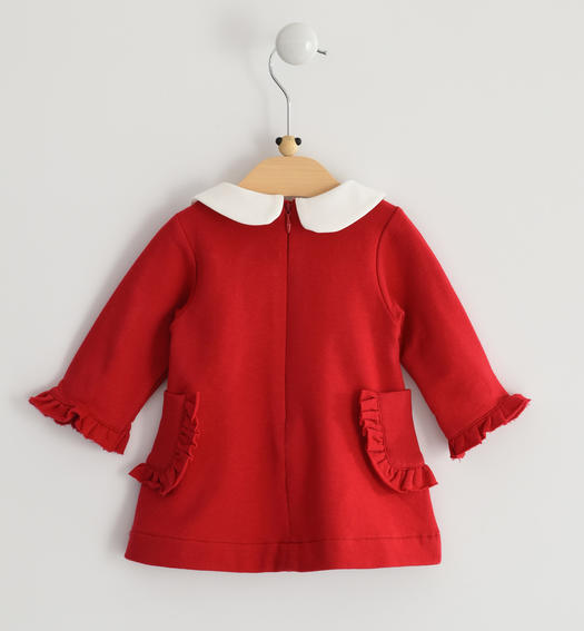 Stretch fleece long sleeves dress for baby girl from 0 to 24 months Minibanda ROSSO-2253